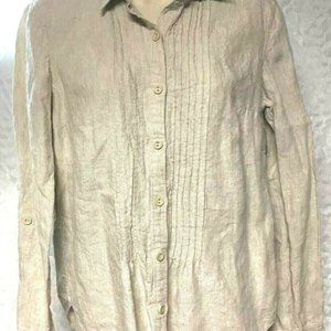 JONES NEW YORK Sport Womens 100% Linen Tan Blouse
